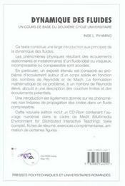 Dynamique Des Fluides-Un Cours De Base De 2e Cycle Universtaire Avec Cd-Rom - 4ème de couverture - Format classique