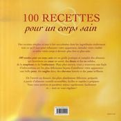 100 recettes pour un corps sain - 4ème de couverture - Format classique
