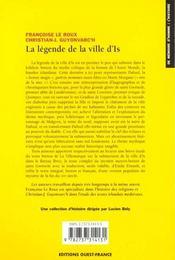 La legende de la ville d'is - 4ème de couverture - Format classique