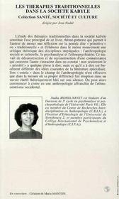 Les Therapies Traditionnelles Dans La Societe Kabyle ; Pour Une Anthropologie Psychanalytique - 4ème de couverture - Format classique