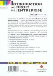 Introduction Droit De L'Entreprise Dpecf Epreuve N 1 - 4ème de couverture - Format classique