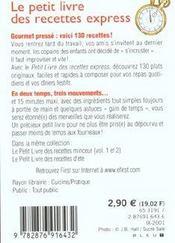 Le Petit Livre De - Recettes Express - 4ème de couverture - Format classique