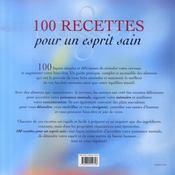 100 recettes pour un esprit sain - 4ème de couverture - Format classique