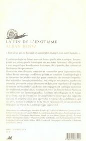 Fin De L'Exotisme (La) - 4ème de couverture - Format classique
