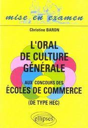 L'Oral De Culture Generale Aux Concours Des Ecoles De Commerce - Intérieur - Format classique