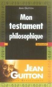 Mon testament philosophique - Couverture - Format classique