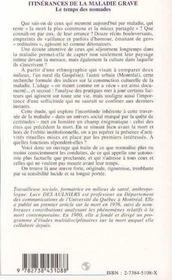 Itinerances De La Maladie Grave : Le Temps Des Nomades - 4ème de couverture - Format classique