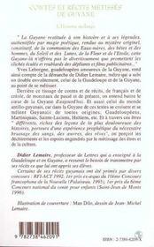 Contes et récits métisses de Guyane ; l'homme mélangé - 4ème de couverture - Format classique