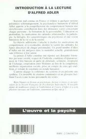 Introduction A La Lecture D'Alfred Adler - 4ème de couverture - Format classique