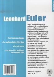 Leonhard euler - 4ème de couverture - Format classique