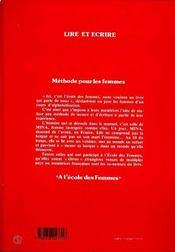 Lire Et Ecrire ; Methode Pour Les Femmes - 4ème de couverture - Format classique