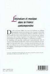 Litterature Et Musique Dans La France Contemporaine. Colloque Interna Tional Tenu En Sorbonne, 20-22 - 4ème de couverture - Format classique