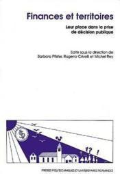 Finances Et Territoires - Couverture - Format classique