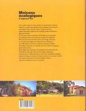 Maisons ecologiques d'aujourd'hui - 4ème de couverture - Format classique