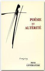 Poésie et altérité - Couverture - Format classique