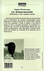 Le Kinyarwanda ; Initiation A Une Langue Bantu - 4ème de couverture - Format classique
