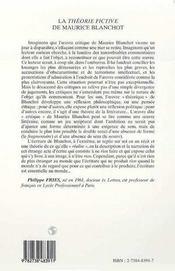 La théorie fictive de Maurice Blanchot - 4ème de couverture - Format classique