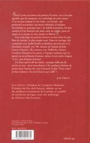 Une anthologie de la poesie amoureuse en france - 4ème de couverture - Format classique