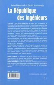La Republique Des Ingenieurs - 4ème de couverture - Format classique
