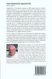 Etre Formateur Aujourd'Hui - 4ème de couverture - Format classique