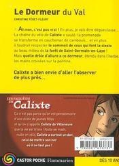 Les anquetes de calixte ; le dormeur du val - 4ème de couverture - Format classique