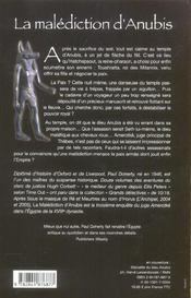 La Malediction D'Anubis - 4ème de couverture - Format classique