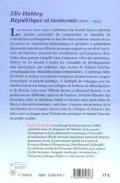 Elie Halevy ; Republique Et Economie 1896-1914 ; Autre Republique Mercantile - 4ème de couverture - Format classique