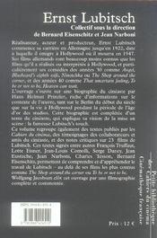 Ernst lubitsch - 4ème de couverture - Format classique