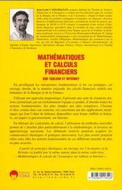 Mathematiques Et Calculs Financiers Sur Tableur Et Internet - 4ème de couverture - Format classique