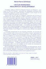 Les Iles Marquises. Insularite Et Developpement - 4ème de couverture - Format classique