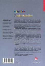 Memento Analyse Financiere - 4ème de couverture - Format classique