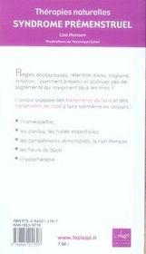 Syndrome prémenstruel thérapies naturelles - 4ème de couverture - Format classique
