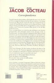 Max jacob - jean cocteau ; correspondance 1917-1944 - 4ème de couverture - Format classique