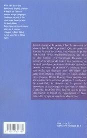 Le prof et le poète ; à l'école de la poésie - 4ème de couverture - Format classique