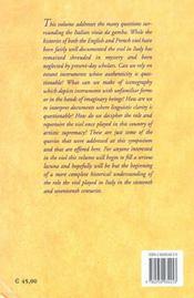The Italian Viola Da Gamba. Proceedings Of The International Symposiu M On The Italian Viola Da Gamb - 4ème de couverture - Format classique