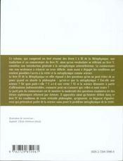 Metaphysique Livre Iv Aristote - 4ème de couverture - Format classique