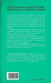 Interactions Des Systemes Educatifs Traditionnels Et Modernes En Afrique - 4ème de couverture - Format classique