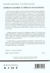 Giorgio Agamben A L'Epreuve D'Auschwitz - 4ème de couverture - Format classique