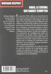 Hans : Le Cheval Qui Savait Compter - 4ème de couverture - Format classique
