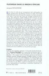 Plutarque Dans Le Miroir D'Epicure - 4ème de couverture - Format classique