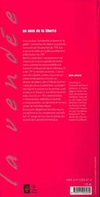 La guerre de vendée - 4ème de couverture - Format classique