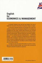 English for economics & management ; l'anglais de l'économie et de la gestion - 4ème de couverture - Format classique