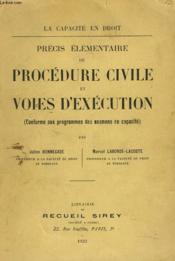 Precis Elementaire De Procedure Civile Et Voies D'Execution - Couverture - Format classique