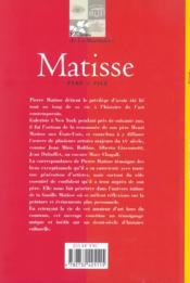 Matisse, Pere Et Fils - 4ème de couverture - Format classique