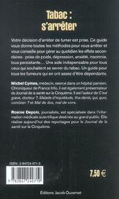 Tabac : S'Arreter - 4ème de couverture - Format classique