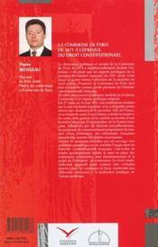 Commune De Paris A L'Epreuve Du Droit Constitutionnel (La) - 4ème de couverture - Format classique
