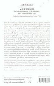 Vie Precaire - 4ème de couverture - Format classique