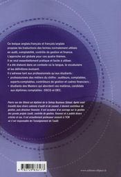 Lexique anglais/français-francais/anglais ; audit, comptabilité, contrôle, finance - 4ème de couverture - Format classique