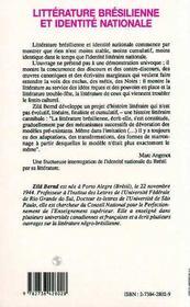 Litterature Bresilienne Et Identite Nationale ; Dispositifs D'Exclusion De L'Autre - 4ème de couverture - Format classique