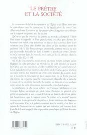 Pretre Et La Societe - 4ème de couverture - Format classique